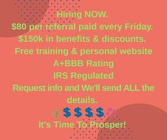 Work from home opportunity.  Inquire at  www.timetoprosperttp.com