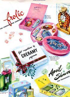 Image detail for Vintage advertisement-Cheramy Perfumer Gift Sets Retro Makeup, Vintage Makeup, Vintage Beauty, Vintage Fashion, Perfume Ad, Vintage Perfume, Perfume Bottles, Vintage Gifts, Vintage Ads
