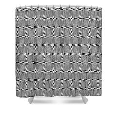 """Black And White # 6 Shower Curtain by Tom Janca.  This shower curtain is made from 100% polyester fabric and includes 12 holes at the top of the curtain for simple hanging.  The total dimensions of the shower curtain are 71"""" wide x 74"""" tall."""