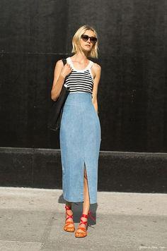 Denim skirt, striped top, sandal heels (via Garance Dore)