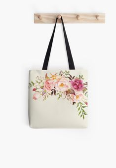 'Romantic Watercolor Flower Bouquet' Tote Bag by junkydotcomHow to Romantic Interior Design Painted Canvas Bags, Canvas Tote Bags, Fabric Paint Designs, Illustration Blume, Floral Tote Bags, Flower Bag, Jute Bags, Cotton Tote Bags, Purses And Bags