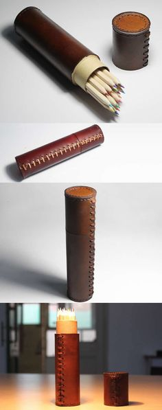 Handmade Cylinder Leather Pen Holder