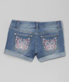 This Memory Cuffed Little Butterfly-Appliqué Denim Shorts is perfect! #zulilyfinds