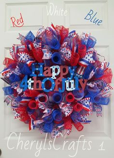 Red White Blue Happy 4th of July Wreath,Patriotic Wreath, Independence Day Wreath,Patriotic Wall Decor by CherylsCrafts1 on Etsy