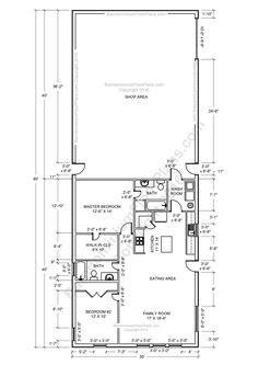 2 bedroom 2 bath Barndominium Floor plan for 30 foot wide building with a 30 x 40 shop area.