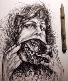 Love this wolf lady work in progress by ⠀ ⠀ Scary Drawings, Dark Art Drawings, Pencil Art Drawings, Art Sketches, Zombie Drawings, Arte Horror, Horror Art, Horror Music, Dark Art Illustrations