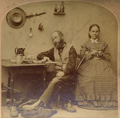 Woman Knitting While Husband Sleeps Kilburn Littleton N H Stereoview