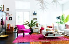 white walls, pink, living room, white sofa, modern, eclectic. bright