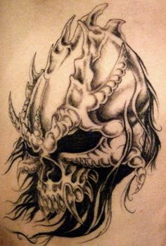 demon skull tattoo by Metamorphine.deviantart.com on @deviantART