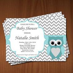 Owl Baby Shower Invitation Boy Baby Shower invitations Printable Baby Shower Invites -FREE Thank You Card - editable pdf Download (549) blue