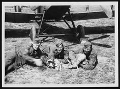 WWI. R.A.F. men with their pet rabbits at a Squadron near the lines by National Library of Scotland, via Flickr