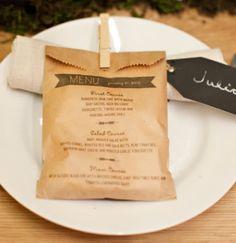 Creative Wedding & Event Menus - Wedding Menu Paper Bag Favors