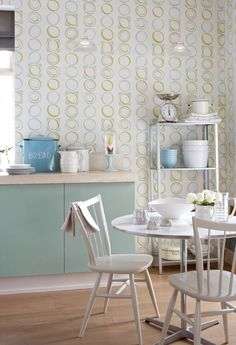 Retro Kitchen - Wallpaper by Little Greene Paint & Paper.  We stock it...enquire at...www.bijouhome.co.uk