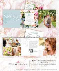 Wedding Photography Marketing - 5x5 Trifold Brochure Template - 1062. $16.00, via Etsy.