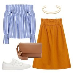 Burnt orange midi skirt, blue striped off the shoulder top, white sneaker, brown bag and gold accessories