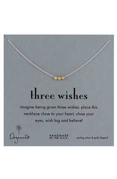 three wishes necklace. such a sweet idea.