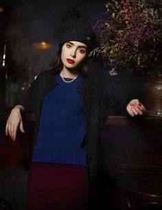 Lily Collins in Barrie cashmere autumn/winter 2014