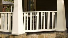 Porch railing can be a good idea because it gives a safe place for kids to not going out from home. Here are some porch railing ideas to make your home more eye catching. Craftsman Porch, Craftsman Exterior, Craftsman Style Homes, Craftsman Bungalows, Craftsman Staircase, Craftsman Remodel, Exterior Stairs, Outdoor Stair Railing, Wood Railing
