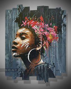 graffiti painting ideas / graffiti painting ` graffiti painting on canvas ` graffiti painting ideas ` graffiti painting canvases ` graffiti painting on wall Graffiti Art, Graffiti Painting, Arte Bar, Afrique Art, African Art Paintings, Black Art Pictures, Black Love Art, Portrait Art, Portraits