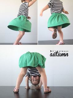 learn how to sew this cute skirt with attached shorts underneath for your active little girl