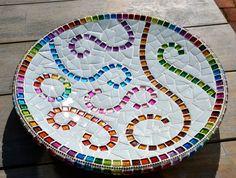 Rainbow mosaic dish sparkling glass
