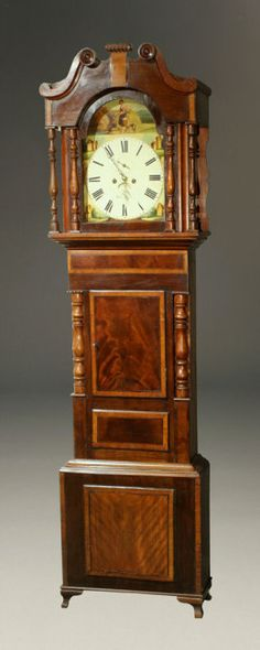 "Mid 19th century English ""wide body"" tall case clock with hand painted pastoral scene on dial, circa 1850. #antique #clock"