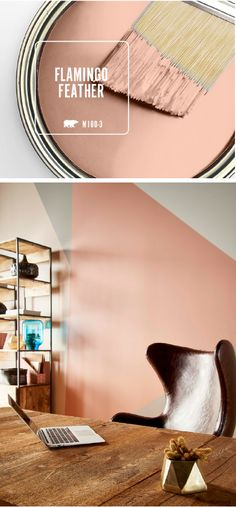 Add a burst of modern flair to your home with this geometric accent wall. The blush hue of Flamingo Feather, BEHR's Color of the Month, gives this wall mural a glamorous vibe when paired with light gray accent colors. Try using wood and gold accents to complement the warm undertones in this chic interior paint shade.