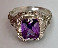 Vintage Art Nouveau Sterling Silver Exquisite 2.25CT Amethyst Filigree Ring Size 6.25 by AdornedInHistory on Etsy