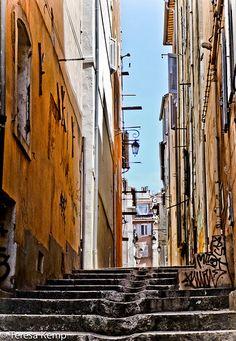 Marseille Street Her World, Provence, France, Spaces, Explore, Street, Alps, Marseille, Basket