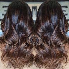 Dark brown balayage'd hair.:
