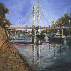 'Albert Bridge' Gerard Byrne, oil on canvas, 109x109cm, River Thames, London, United Kingdom, www.gerardbyrneartist.com