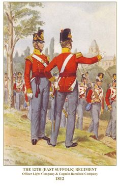 British; 12th(East Suffolk) Regiment, Light Company & Battalion Company, Officers, 1812 by P W Reynolds
