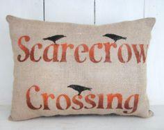 Halloween pillow, autumn pillows, scarecrows, fall pillow, decorative pillows,  throw pillows,  spooky pillows, orange decor, holiday decor