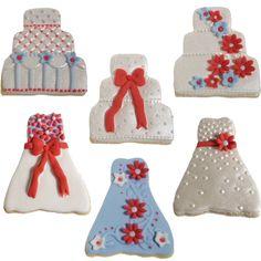 Periwinkle and Fuchsia Mini Wedding Cookies