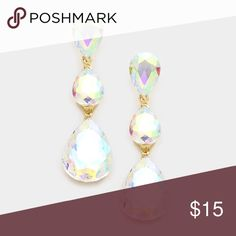 SOLD! Crystal glass statement chandelier earrings Boutique ...