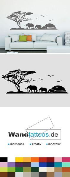 Wandtattoo Afrikanische Landschaft als Idee zur individuellen Wandgestaltung. Einfach Lieblingsfarbe und Größe auswählen. Weitere kreative Anregungen von Wandtattoos.de hier entdecken!