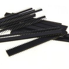 20 unids 10 pares 40 Pin 1x40 Sola Fila Macho y Hembra 2.54 Breakable Pin Header Conector de Gaza para Arduino Negro