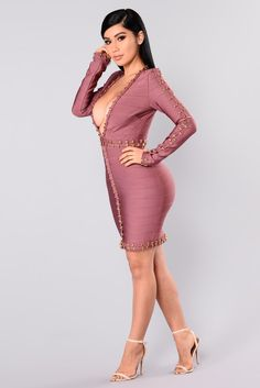 Available In Dark Mauve And GoldBandageDeep V NeckLong SleeveMini Length Polyester SpandexImported Evening Gowns On Sale, My Kind Of Woman, Velvet Gown, Mauve Dress, Rompers Women, Girl Outfits, Fashion Dresses, Bodycon Dress, Womens Fashion