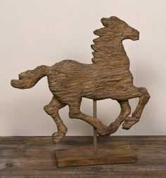 Reclaimed Wood Horse on a Pedestal How weird I bought this at Home Sense last year and love it.  KL