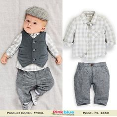 7693a035e7bc2 Baby Boy Formal Outfits - 3 Piece Kids Birthday Outfit, Designer Party Wear  Dress,