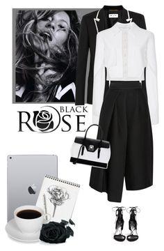 """Black Rose"" by vespagirl ❤ liked on Polyvore featuring moda, Yves Saint Laurent, Carolina Herrera, TIBI, Stuart Weitzman, Mark Cross, women's clothing, women, female y woman"