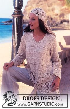 Cairo - DROPS Sweater with lace pattern in Ribbon. Scarves with lace pattern in Safran. - Free pattern by DROPS Design Drops Design, Summer Knitting, Free Knitting, Jumpers For Women, Sweaters For Women, Cairo, Pull Long, Cardigan Bebe, Lace Knitting Patterns