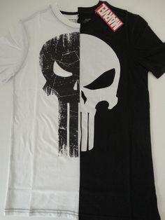 5b69ac7f99216e Details about The Punisher Split Half Skull Logo Marvel Comics T-Shirt