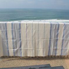 Maxi Fouta Bleu Ciel Grand Format, Deco, Ciel, Ottoman, Weaving, Towels, Blankets, Fabric, Rugs