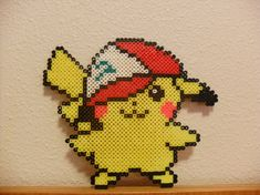 Perler Beads Pikachu in Ash's hat. Pokemon Perler Beads Art Yellow and Red