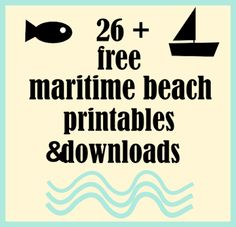 ☞ Over 26 free maritime beach printables and nautical downloads | MeinLilaPark – DIY printables and downloads