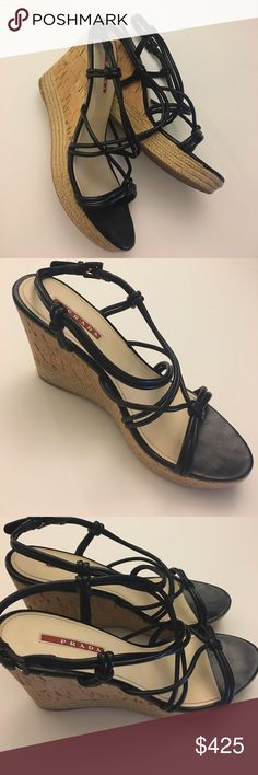 Prada Knotted Leather Espardilles 100% Authentic Prada cork wedge with black leather straps. Beautiful condition. Runs small, fits like closer to 9 than 9.5. These are an awesome pair of wedges to have in a shoe collection. Perfect all through out summer late into September. Serial number on strap reads 3XZ112. Prada Shoes Sandals