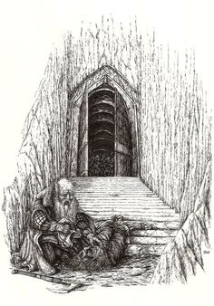 When Thror came to Moria the Gate was open. Nar begged him to beware, but he took no heed of him, and walked proudly in as an heir that returns. But he did not come back. One day Nar heard a loud shout and the blare of a horn, and a body was flung out on the steps.  Thror began to creep near. Then Nar came up, and found that it was the body of Thror.  Nar turned the head and saw branded on the brow the name AZOG. That name was branded in his heart and in the hearts of all dwarves afterwards.