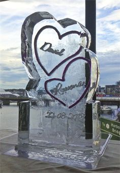 Twin Hearts Ice Sculpture