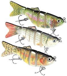 IDEALHOUSE 3 Pcs Fishing Lures Set Upgraded, Lifelike Multi Jointed Body Popper Crankbait Sinking Bass Fishing Baits, Slow Sinking Hard Topwater Lure Fishing Tackle Kits